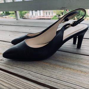 Cole Haan Black Slingback Kitten Heels